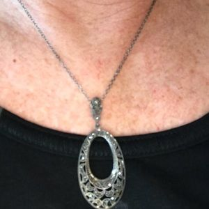 Jewelry - Sterling silver marcasite earrings and pendant